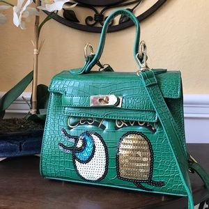 Super Cute Green Leather Crossbody Satchel